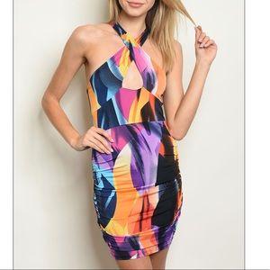 Multicolor printed bodycon dress.